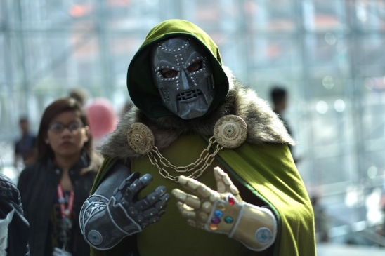NEW YORK, NY - OCTOBER 07: A cosplayer dressed as Dr. Doom attends the New York Comic Con 2016 at The Jacob K. Javits Convention Center on October 7, 2016 in New York City. New York Comic Con is one of the largest comic book and science fiction conventions. The convention brings together fans of fantasy role playing, science fiction, movies and television. (Photo by Neilson Barnard/Getty Images)